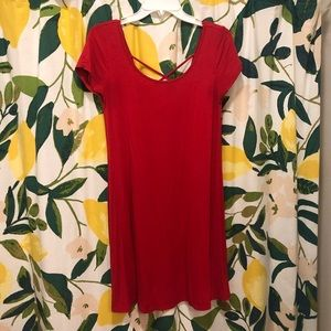 Red shift dress with cross back detail